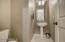 Powder room and pedestal sink.