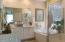 Master bathroom with dual vanity sinks