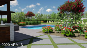 Landscape Architect's rendering looking Northeast of the backyard.