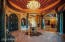 Foyer with 20 ft dome custom panted ceiling with rope lights and designed Turkish Chandelier