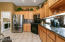 Stainless and black appliances. Gas Stove and built in microwave