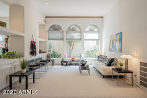 Living Room with 3 tall windows