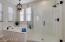 Stand up shower & tub - stunning light fixture!