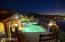 Evenings at the pool with large sliding gate that opens to the beach, and outdoor shower