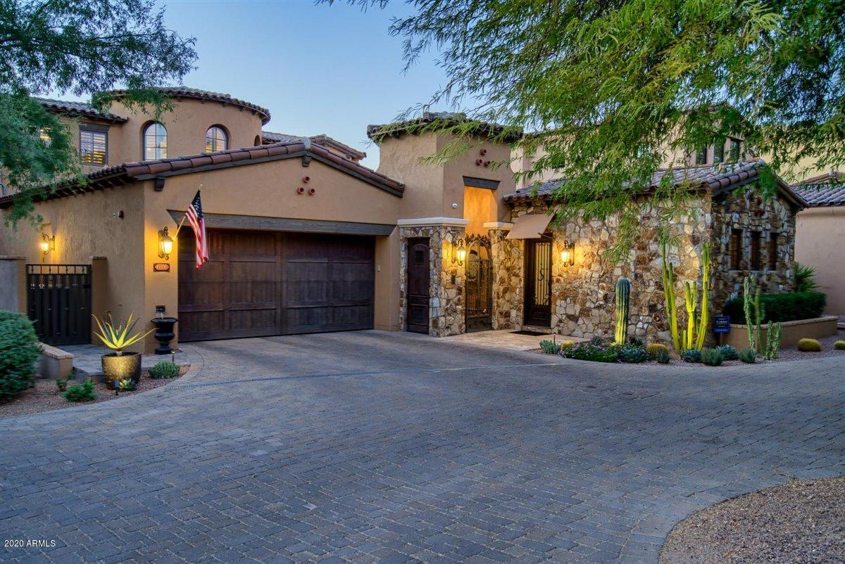 This highly upgraded Canyon Villa offers the ultimate lock and leave lifestyle and was completely renovated inside and out in 2017, including a brand new kitchen and master bathroom, gorgeous new bar adjacent to bonus room, venetian plastered walls throughout, all new lighting, re-stained wood beams and interior doors, new exterior sliding doors, Savant system for operating everything! All mechanical systems replaced including HVAC's and pool equipment. This home offers an extended front courtyard with glass tiled pool and spa, and an oversized backyard that includes an outdoor kitchen beneath a pergola with retractable sunscreen roof, Alfresco pizza oven, BBQ, side burner & prep station, granite dining table, outdoor bar and firepit. A Silverleaf Golf membership can be sold with property. Extensive upgrades and updates in 2017 include:   THROUGHOUT HOME: -- All new LED lighting  -- Venetian plastered walls -- Wood beams and wood doors re-stained -- Custom wood shutters  -- Travertine baseboards -- Glass shower doors  -- All new plumbing fixtures and cabinet handles  -- Bathroom fans  -- Closet systems by California Closets installed in EVERY closet -- Savant system for operating security system, LED lighting, music, fireplace and automatic shades -- New slimline HVAC units -- Savant sound system throughout interior and exterior of the home -- 8 new top of the line TV's throughout the home -- Exterior of home repainted -- Roof soffits and eaves re-stained   KITCHEN: -- Cabinetry by Copper State -- granite counter, backsplash and mural at cooktop -- Viking appliances  -- Dutch door to courtyard -- Archway between kitchen and great room widened for expanded center island -- Brick ceiling installed -- Plumbing fixtures -- New R/O system   DINING ROOM: -- Wood beams refinished -- Custom wood shutters -- Chandelier   FAMILY ROOM: -- New custom fireplace surround and interior brick  -- Custom wood shutters -- Light fixture -- Custom entertainment cabinet with motorized TV lift -- Sierra Pacific sliding doors to exterior -- Window coverings: custom valence and motorized sunshade -- Wood beams refinished   MASTER BATH: -- Cabinetry by Copperstate Cabinet Company -- Porcelain tiled floors and walls -- All new plumbing fixtures -- Glass tile border framing vanity mirrors -- Large shower with bench, 2 separate shower heads and center rain shower -- Quartz countertops and shower bench -- Large linen closet   MASTER BEDROOM: -- DuChateau wood flooring  -- Travertine baseboards -- Window coverings: custom valence and motorized sun and blackout shades -- Custom California shoe closet -- Custom light fixture   MASTER DRESSING ROOM: -- Custom clothes racks and dressers by California Closets -- DuChateau wood flooring   LOFT/BONUS ROOM: -- DuChateau wood flooring -- Wood beams refinished -- Exterior sliding door to balcony -- Custom valence and motorized black out shade -- Custom wood shutters   BAR ROOM: -- Cabinetry and wainscoting by Copperstate Cabinet Company -- Marble countertops -- Antique mirrors -- Custom shutters -- Built in bar refrigerator and wine cooler -- DuChateau wood flooring   ALL SECONDARY BATHROOMS AND POWDER ROOM: -- Re-stained cabinetry -- All plumbing fixtures replaced -- Glass shower doors (excluding powder room) -- Cabinetry hardware  -- Beveled glass vanity mirrors   BACKYARD: -- Travertine patio -- Wet bar with sink and refrigerator -- New outdoor light fixtures -- Large granite dining table -- Pergola with automatic retractable sun shade roof, and curtains -- Outdoor kitchen with Alfresco pizza oven, grill, side burner and prep area -- Firepit with granite built-in bench seating -- Motorized shade structures at both covered patios  -- TV's at both covered patios and new ceiling fans -- Fenced in dog run with artificial turf, water drain and stepping stones   FRONT COURTYARD  -- Travertine patio -- Salt water pool and spa with glass tile  -- New Pentair pool equipment protected by new custom awning  -- Trellises -- Multi-color fiberoptic pool lighting   CASITA: -- New sliding door -- Awning at sliding door  -- New porcelain tile flooring -- Custom iron entry door -- Beams re-stained -- Custom valence and blackout shade -- Venetian plaster -- Built in refrigerator -- New ceiling fan   GARAGE: -- Garage floor epoxied -- New central vac  -- New water heater -- Storage cabinets and work bench installed -- Hanging shelves installed -- 2 electric car plug in chargers -- New garage door opener   Some furnishings available by separate bill of sale.