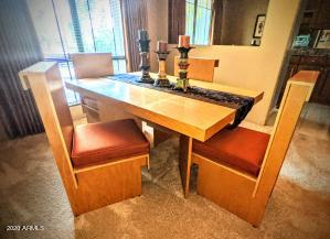 "This is the originally furnished dining room table with four original chairs Listing #6165303 The Cloisters Condominium by John H. ""Jack"" Howe, Architect 5225 N 24th Street, 201 at ARIZONA BILTMORE ESTATES"