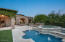 Pool area has shallow play area as well more spacious area for swimming laps.