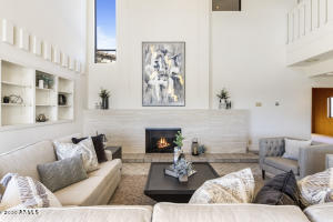 Living Room with Travertine Fireplace