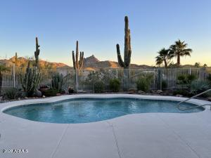 Beautiful Backyard View with Red Mountain and Majestic Saguaros
