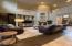 Open floorplan with soaring ceilings.