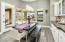 Elegant chandelier in eat in kitchen