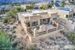 Beautiful patio extension w/serene desert & mountain views, natural gas fireplace & walking distance to the fountain!
