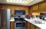 U shaped kitchen is easy to work in and convenient