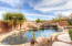 Resort style back yard with spa, fountains and fire feature