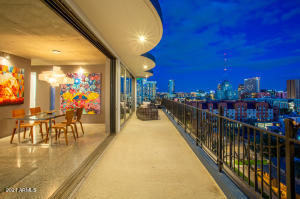 Large balcony with unobstructed views of Downtown Phoenix