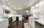 Kitchen with beverage fridge