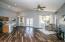 Tile floor set at diagonal throughout home