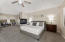 Spacious master suite features two way fireplace