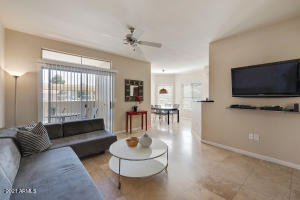 Bella Terra - 2 bedroom, 2 bath, single private car garage, to convey fully furnished.  This downstairs unit has limestone floors, black granite counters, all furnishings including washer and dryer.  This is a ready investment property with a perfect central Scottsdale location.