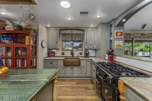 You have two different complementing granite stone countertops, imported from Brazil.