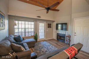 Vaulted Ceilings & Cozy Fire Place
