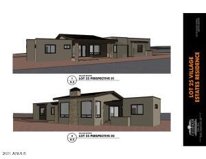 Perspective of front with stone fireplace & covered back patio.
