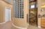 Master Bath With Glass Block Shower and Granite Shower Surround