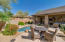Spacious patio with multiple seating areas