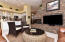 Fireplace / TV Stacked Stone Wall