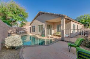 Backyard with heated pool and spa