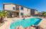 Heated salt water pool with water feature