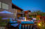 Water features, firepit, BBQ, pizza oven, two water features, and much more in this amazing yard