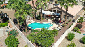 Spacious back yard with heated pool, spa, and lush landscaping