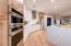 Quartz Kitchen Island, Riviera Oak Galaxy White Euro Cabinets