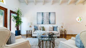Gorgeous open feel with beautiful beamed ceilings.
