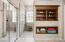 Master Bath Custom Storage Wall, Walk in Tiled Shower.