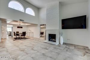 Stunning full wall brick fireplace!