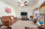 Good sized Living. room with ceiling fans. No popcorn ceilings throughout home