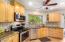 Granite counters in kitchen.