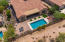 Aerial view showing pool, backyard and 20 foot side yard.