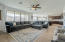 Spacious family room with double slider door.