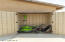 Storage Shed with Lawn Mower, Weed Eater and Blower
