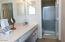 Master bath with separate shower & private toilet .