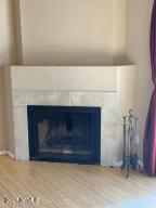 Gas fire place in living area.