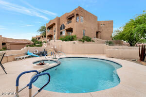 The community pool and spa are right outside your door