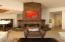 STACKED STONE WOOD BURNING FIREPLACE WITH MANTEL AND HEARTH