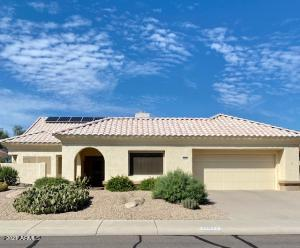 """The 2022sf home sits on a golf course lot. 2 bd 2 ba with a nice Great Room, breakfast bar & eat in area. The """"owned"""" solar give you tremendous savings all year long. 16"""" tile on the diagonal & bamboo floors in the bedroom. Check out the Features/Improvements list in the documents. This is a """"Coming Soon"""" listing because the sellers have lots of """"clutter"""" before the listing goes """"live"""". They are moving into Sun Health on 9/30/21 & will be showing this home in a few weeks."""