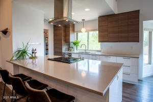 Generous Quartz slab peninsula for quick meals and lazy conversation houses doubled-sided storage.