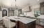 Leathered marble kitchen island