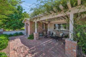 Brick paver courtyard.